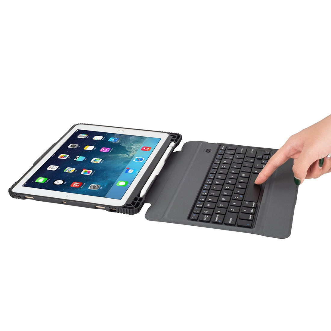 TC107 For iPad Air 2 & Air 1 / Pro 9.7 inch & 2017 iPad & 2018 iPad Detachable Ultra-thin Full Coverage Drop-proof Plastic Bluetooth Keyboard Leather Cover with Pen Slot & Stand Function (Black)