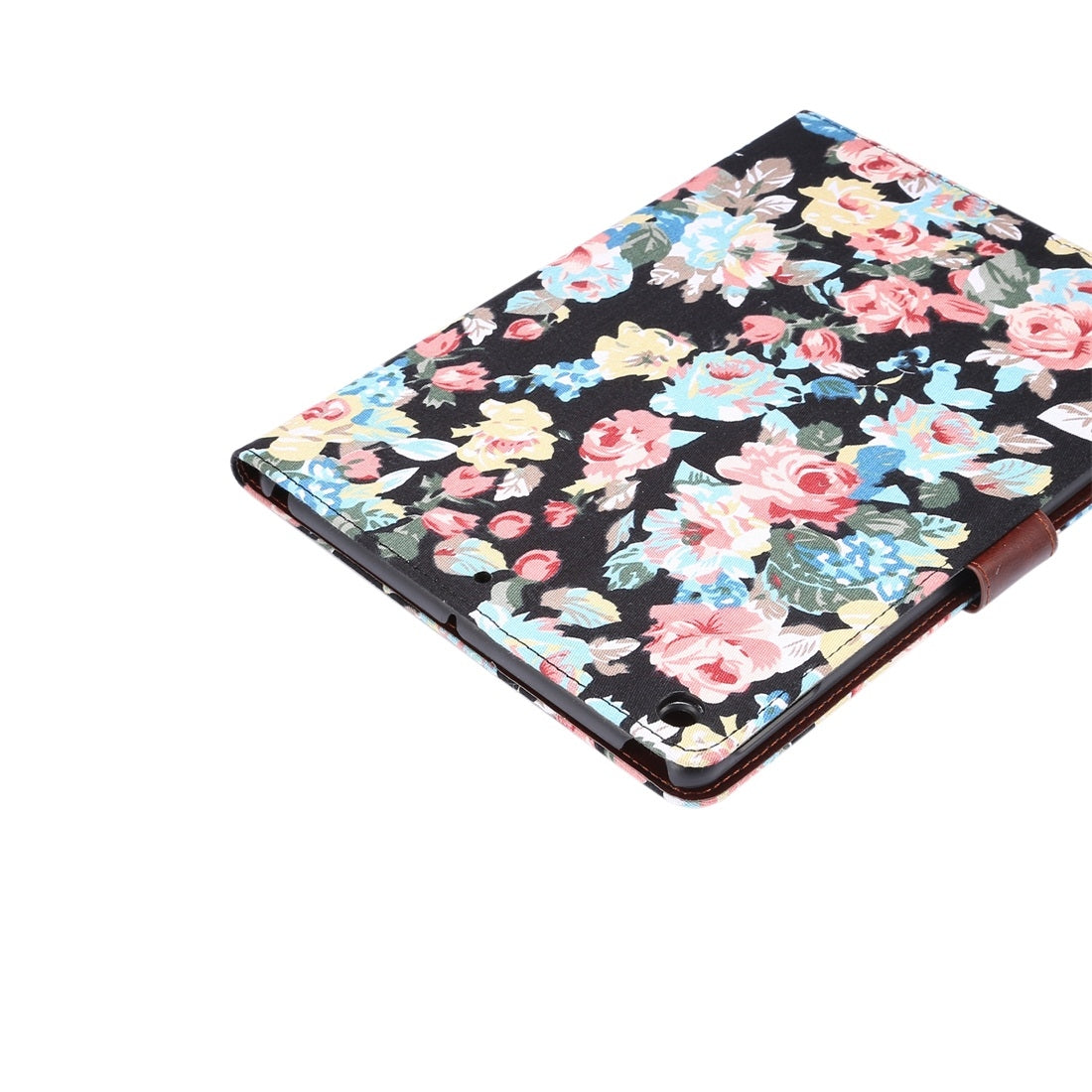 Dibase For iPad 10.2 inch Horizontal Flip Floral Cloth Leather Case, with Holder & Card Slots & Wallet & Sleep / Wake-up Function(Black)
