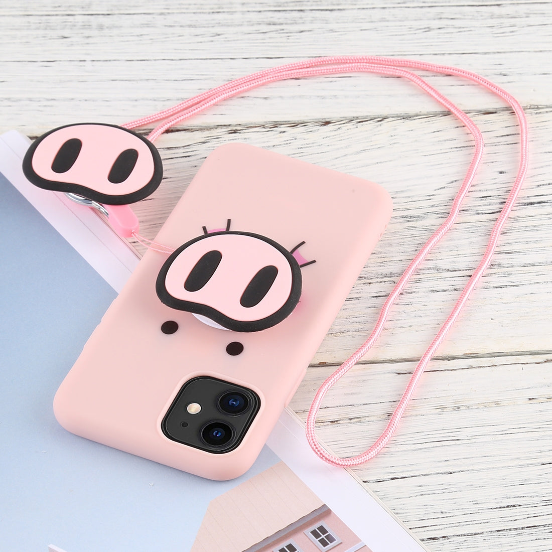 For iPhone 11 Cute Cartoon Funny Pig Nose TPU Soft Protective Case with Lanyard
