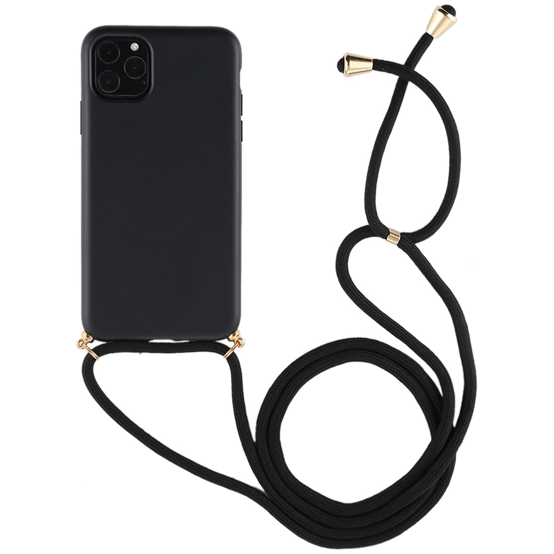 For iPhone 11 TPU Anti-Fall Mobile Phone Case With Lanyard (Black)