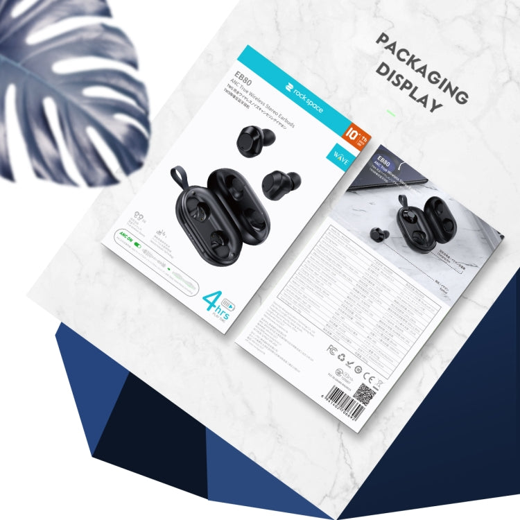 ROCK EB80 Bean TWS Bluetooth 5.0 Wireless Active Noise Cancelling Earphone(Black)