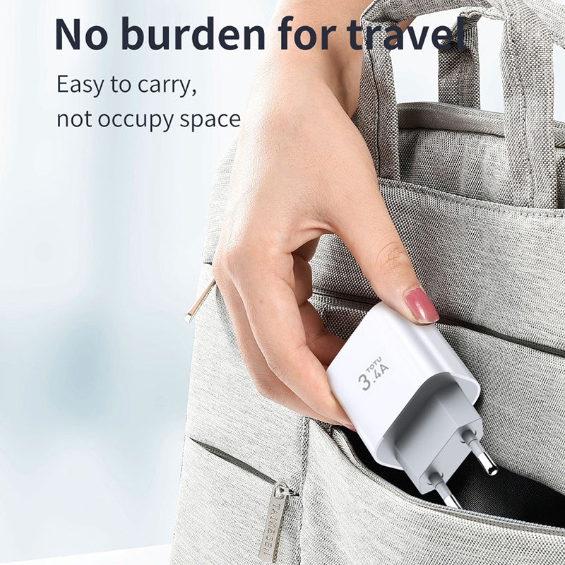 TOTUDESIGN Minimal Series CACA-021 PD 3.4A Dual USB Ports Travel Charger, EU Plug