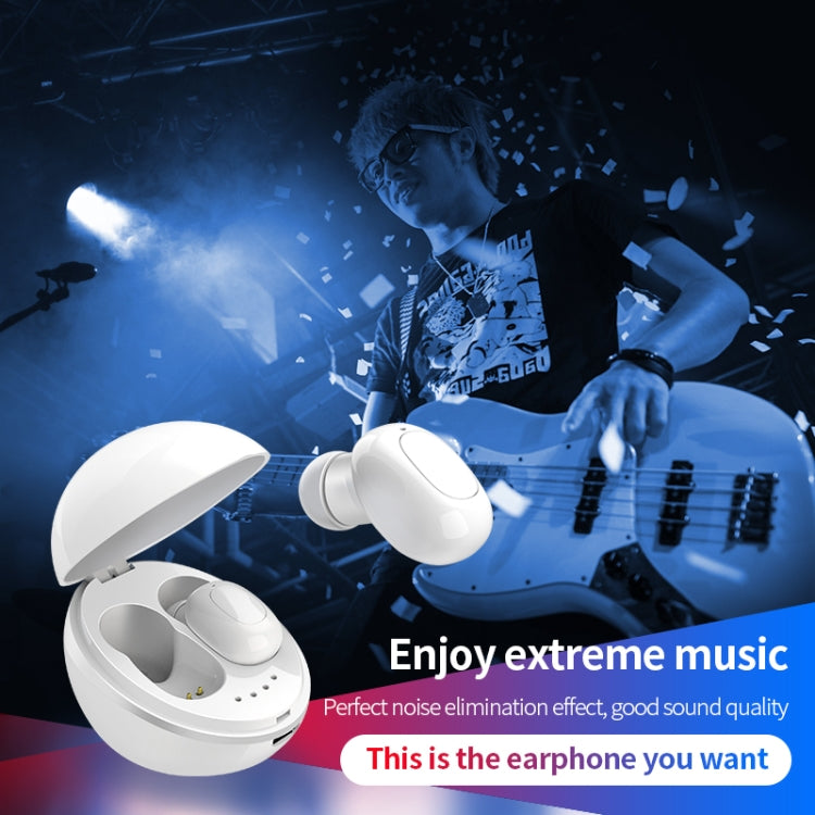 A10 TWS Space Capsule Shape Wireless Bluetooth Earphone with Magnetic Charging Box & Lanyard, Support HD Call & Automatic Pairing Bluetooth(Black White)