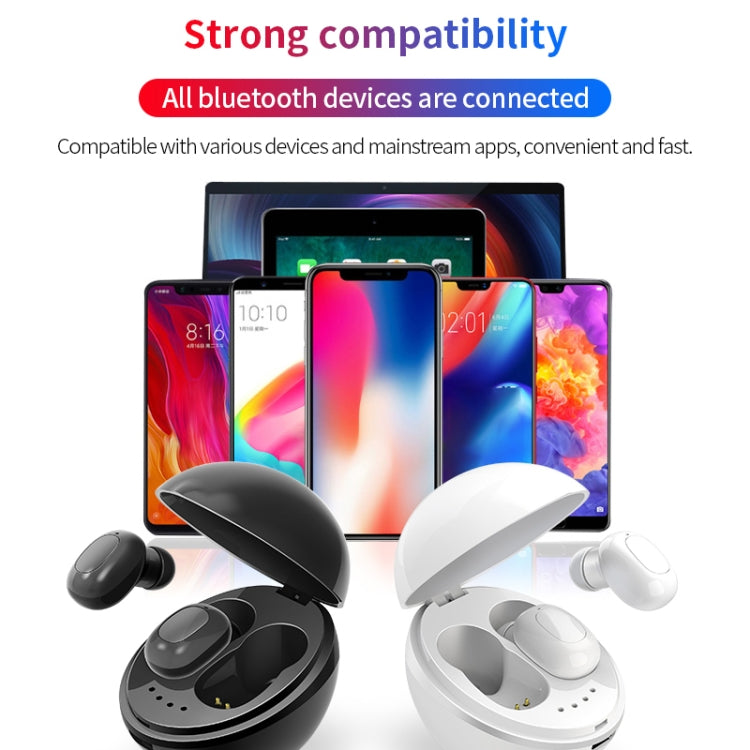 A10 TWS Space Capsule Shape Wireless Bluetooth Earphone with Magnetic Charging Box & Lanyard, Support HD Call & Automatic Pairing Bluetooth(White)