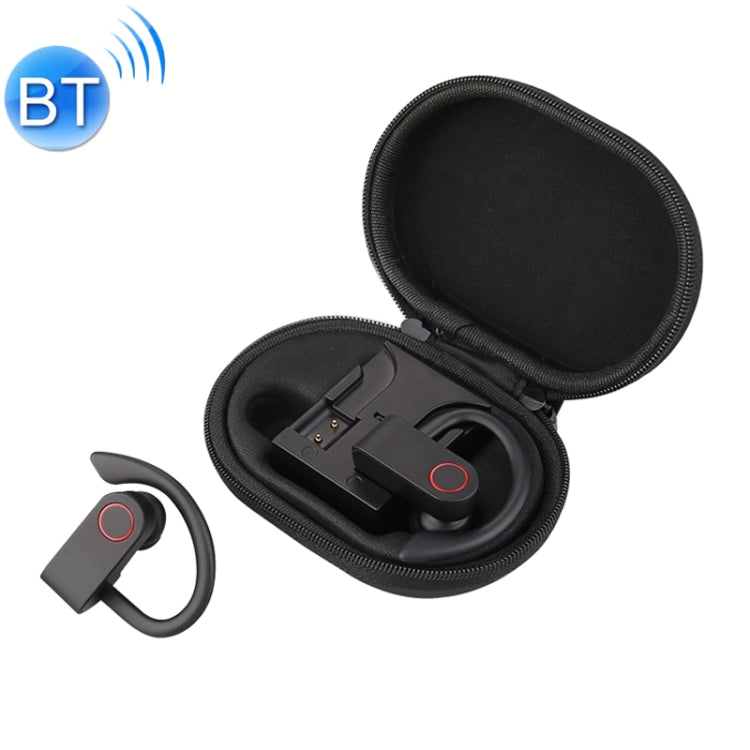 JHO-A9 TWS  Wireless Hanging Ear Type Bluetooth Earphone with Charging + Storage Integrated Zipper Bag, Support Voice Control(Black)