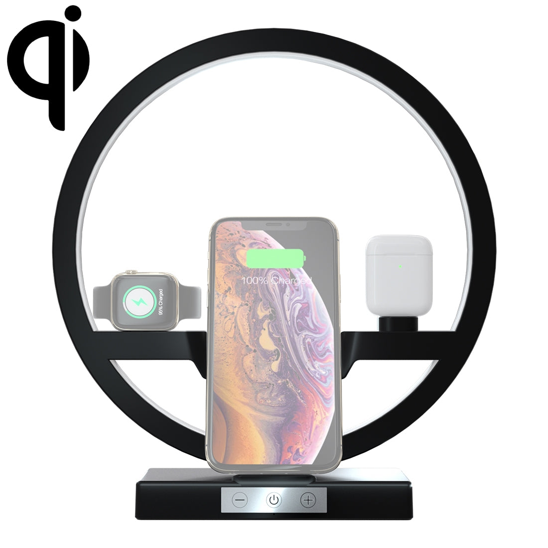 N38 QI Vertical Fast Wireless Charger for Mobile Phones & Apple Watch & AirPods, with LED Light (Black)