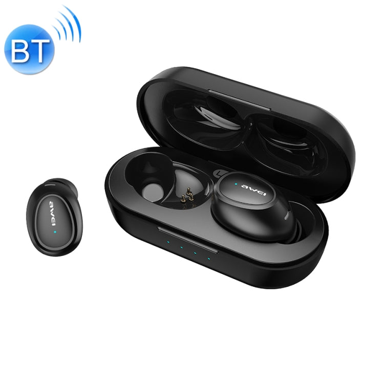 awei T16 TWS Bluetooth V5.0 Ture Wireless Sports Headset with Charging Case(Black)
