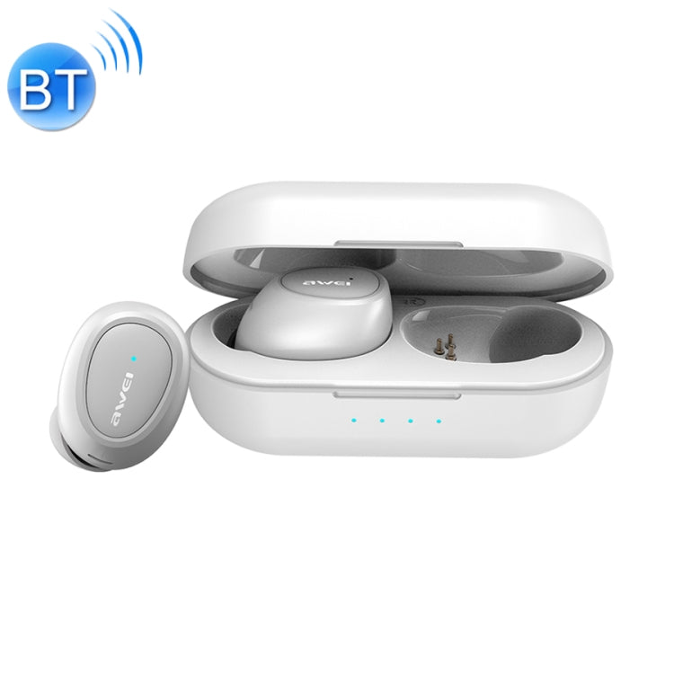 awei T16 TWS Bluetooth V5.0 Ture Wireless Sports Headset with Charging Case(White)