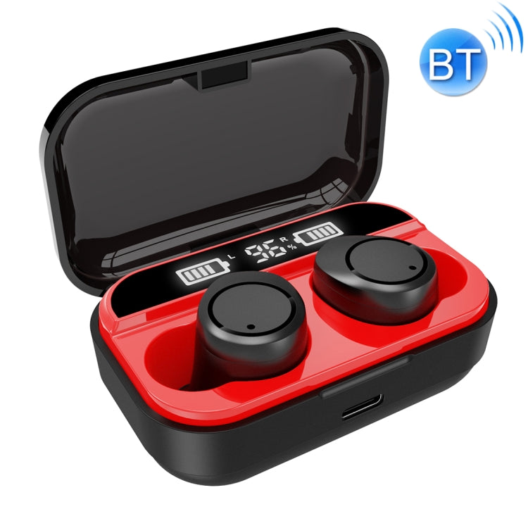 X5 TWS Bluetooth V5.0 Wireless Stereo Headset with Charging Case and Digital Display, Support Intelligent Pairing(Black Red)