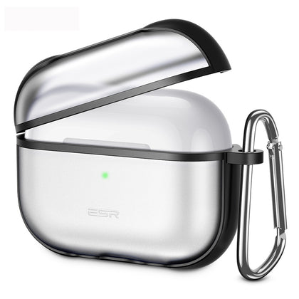 For AirPods Pro ESR Hybrid Series TPU Wireless Earphone Protective Case with Carabiner(Black)