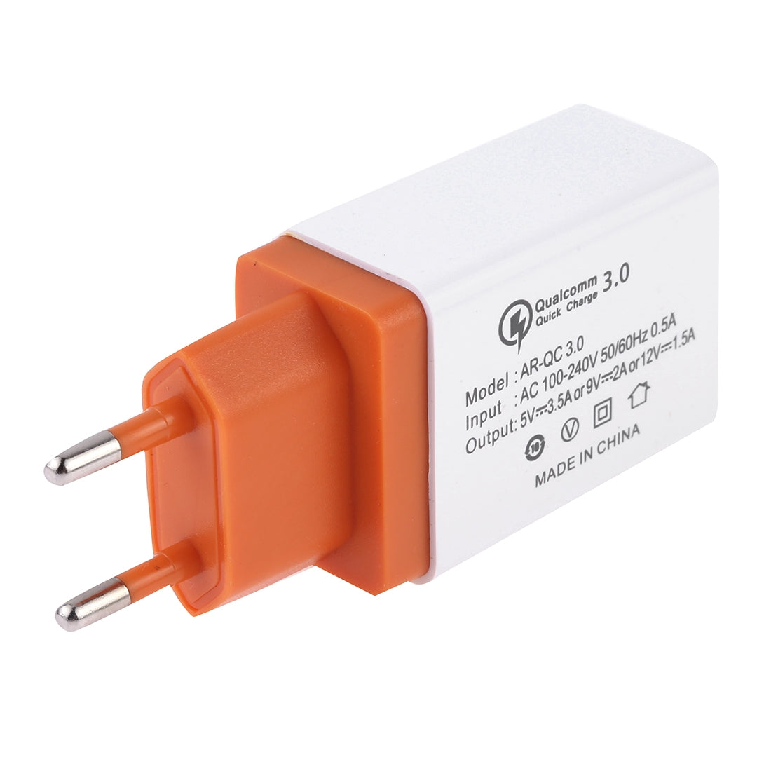AR-QC 3.0 3.5A Max Output Single QC3.0 USB Ports Travel Fast Charger, EU Plug(Orange)
