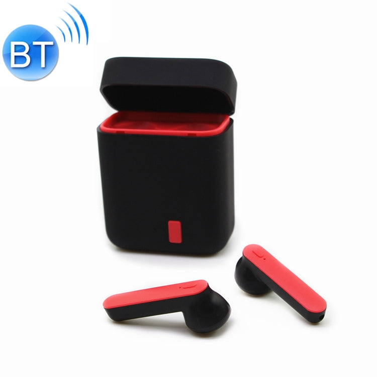 i7s TWS Stereo Dual Noise Reduction Wireless Bluetooth 5.0+EDR Earphones with Charging Case (Black Red)