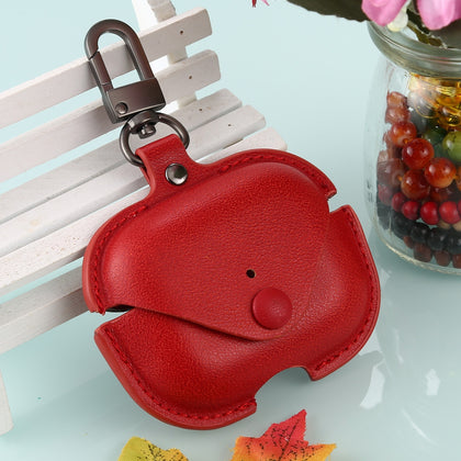 For AirPods Pro Litchi Texture PU Leather Earphone Protective Case with Hook(Red)