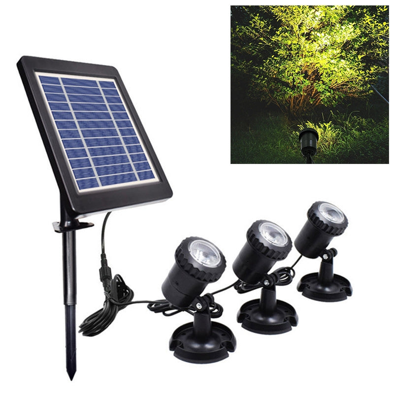 3 In 1 Warm Light Lawn Insertion Pool Diving Solar Spotlight