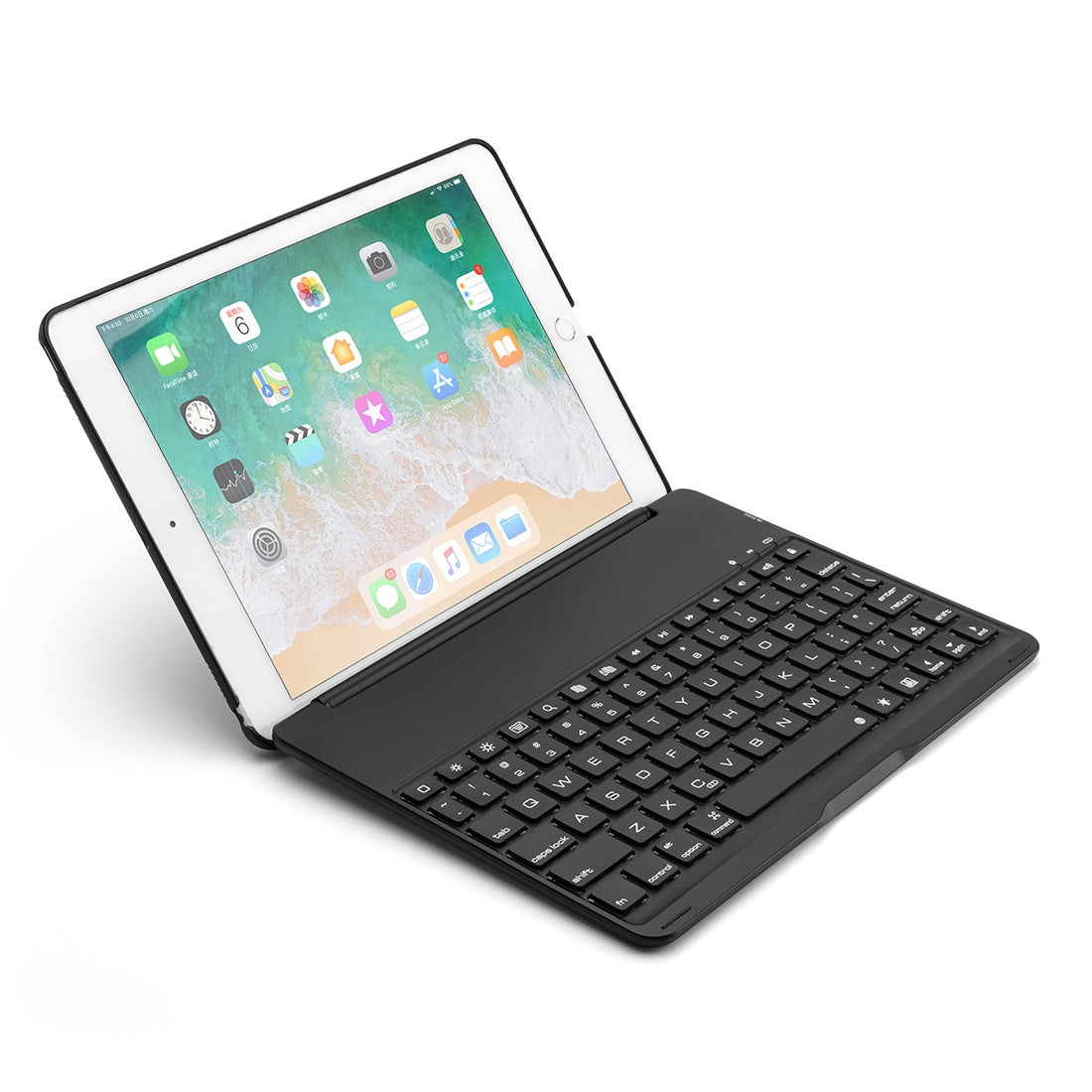 F8AS For iPad Air 2 & Air 1 / Pro 9.7 inch & 2017 iPad & 2018 iPad Laptop Version Colorful Backlit Aluminum Alloy Bluetooth Keyboard Protective Cover (Black)