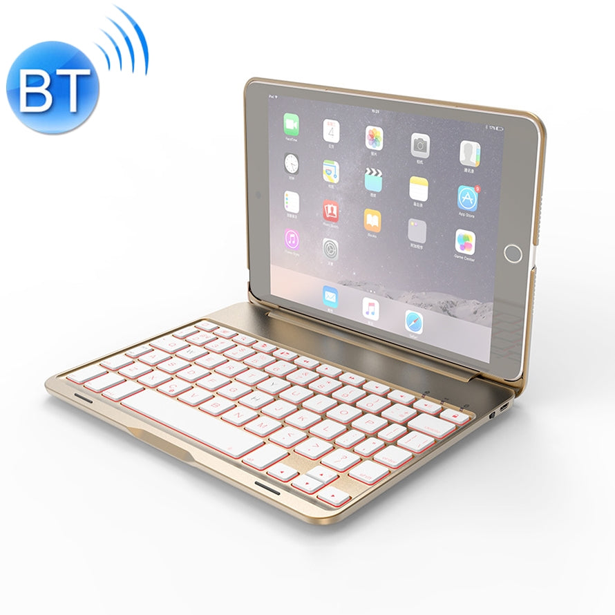 F8SM For iPad mini 3 / 2 / 1 Laptop Version Colorful Backlit Aluminum Alloy Bluetooth Keyboard Protective Cover (Gold)