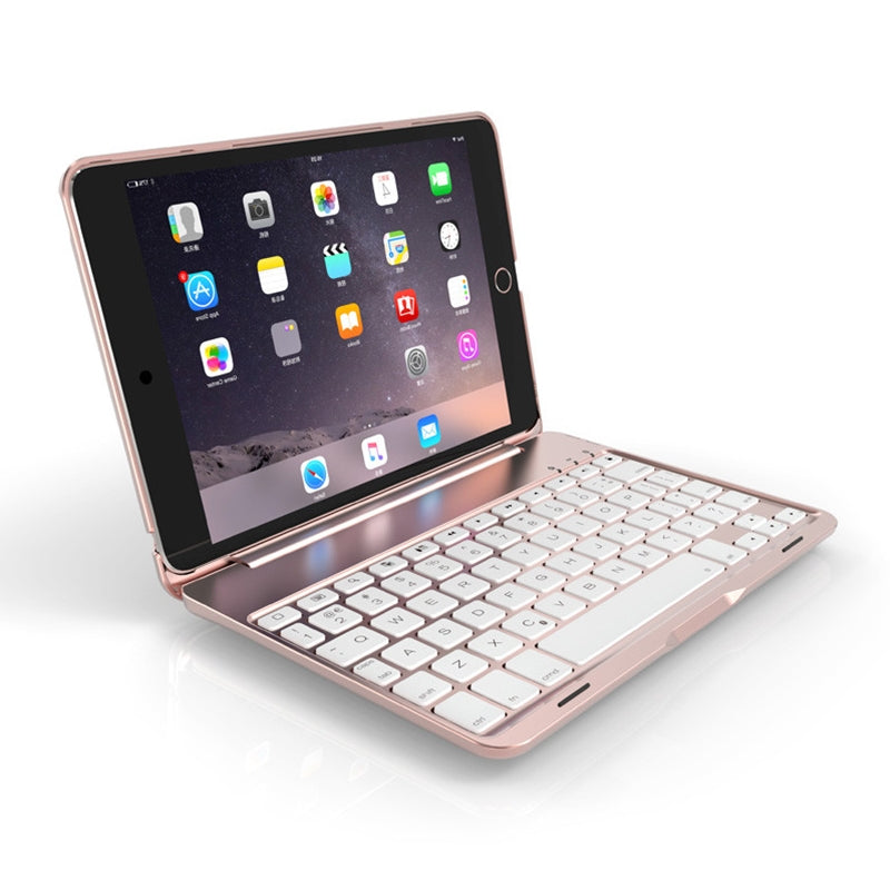 F8SM+ For iPad mini 4 Laptop Version Colorful Backlit Aluminum Alloy Bluetooth Keyboard Protective Cover (Rose Gold)