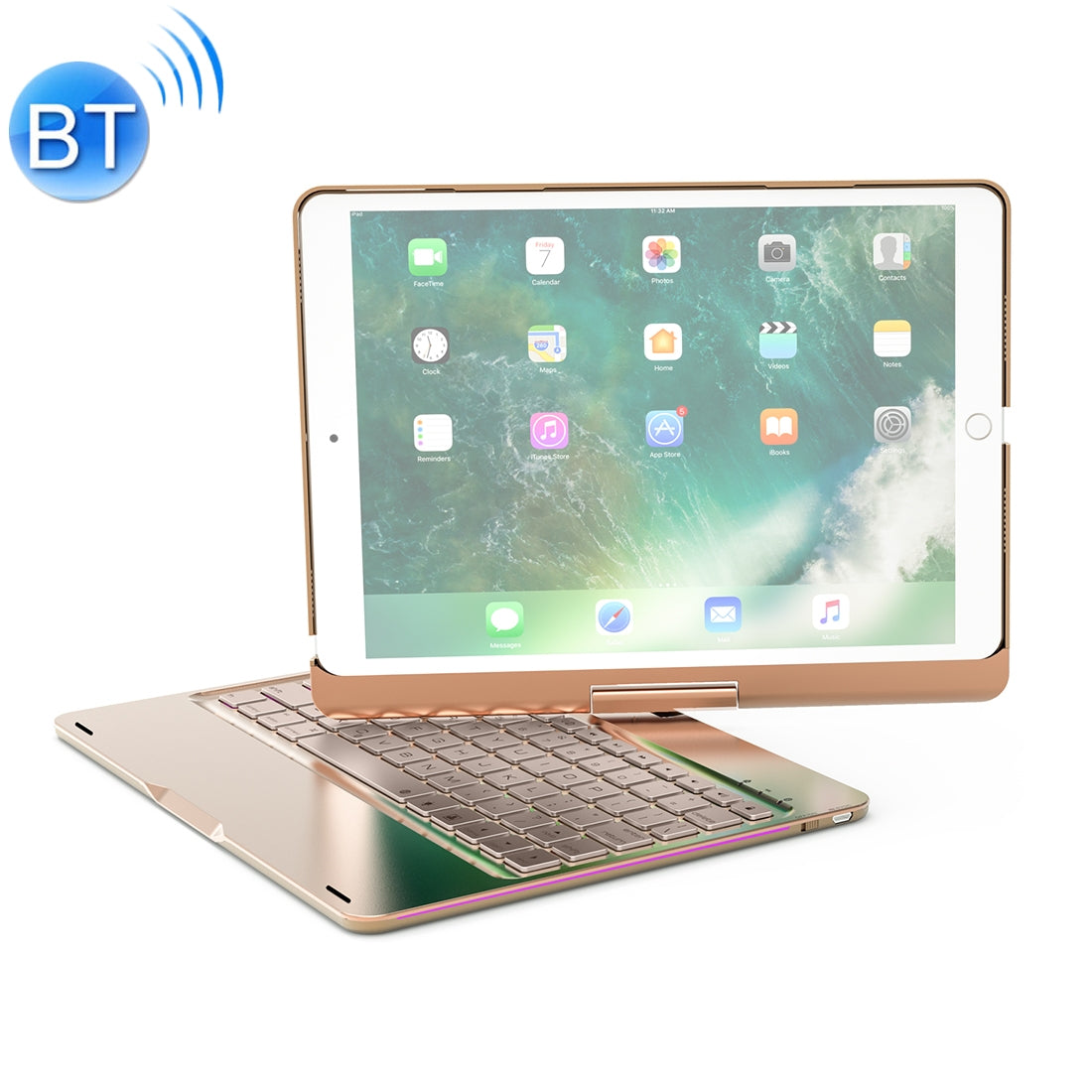 F360 For iPad Pro 10.5 inch & iPad Air 10.5 inch Rotatable Colorful Backlight Laptop Version Aluminum Alloy Bluetooth Keyboard Protective Cover (Gold)