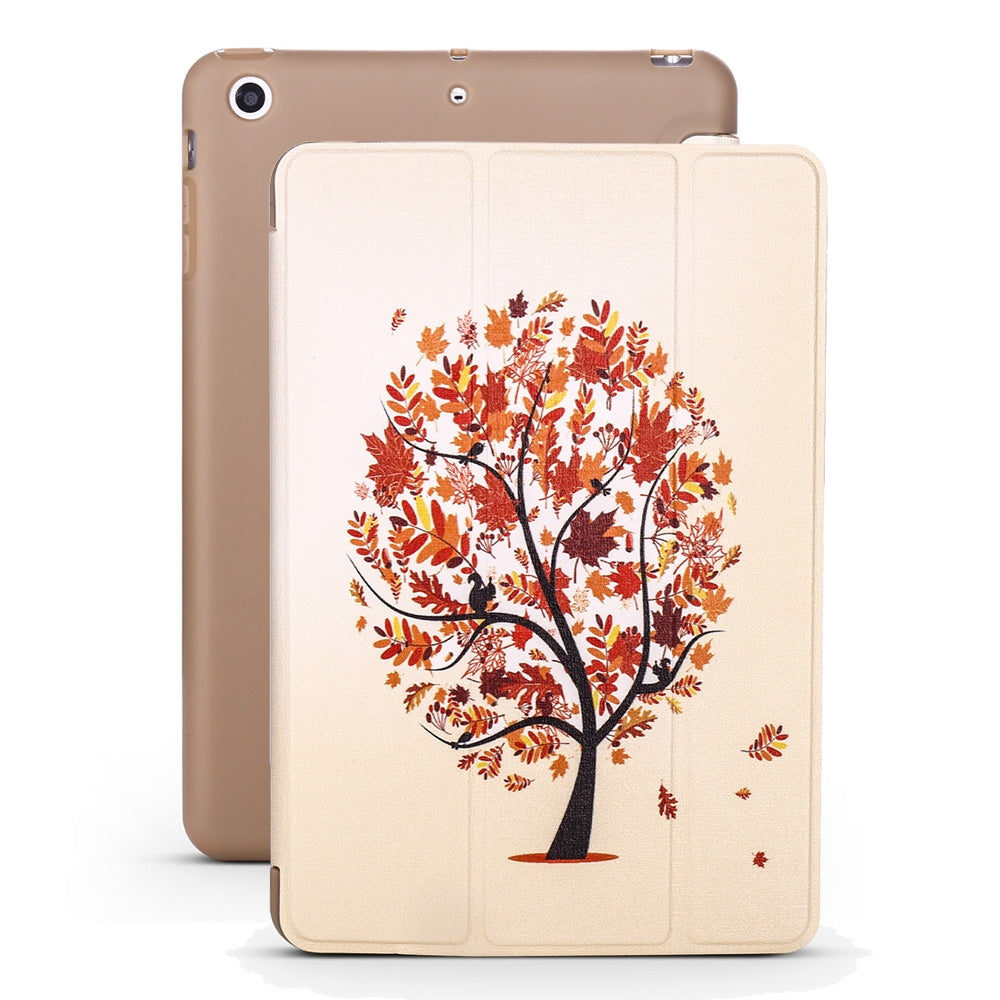 Maple Pattern Horizontal Flip PU Leather Case for iPad mini 3 / 2 / 1, with Three-folding Holder & Honeycomb TPU Cover