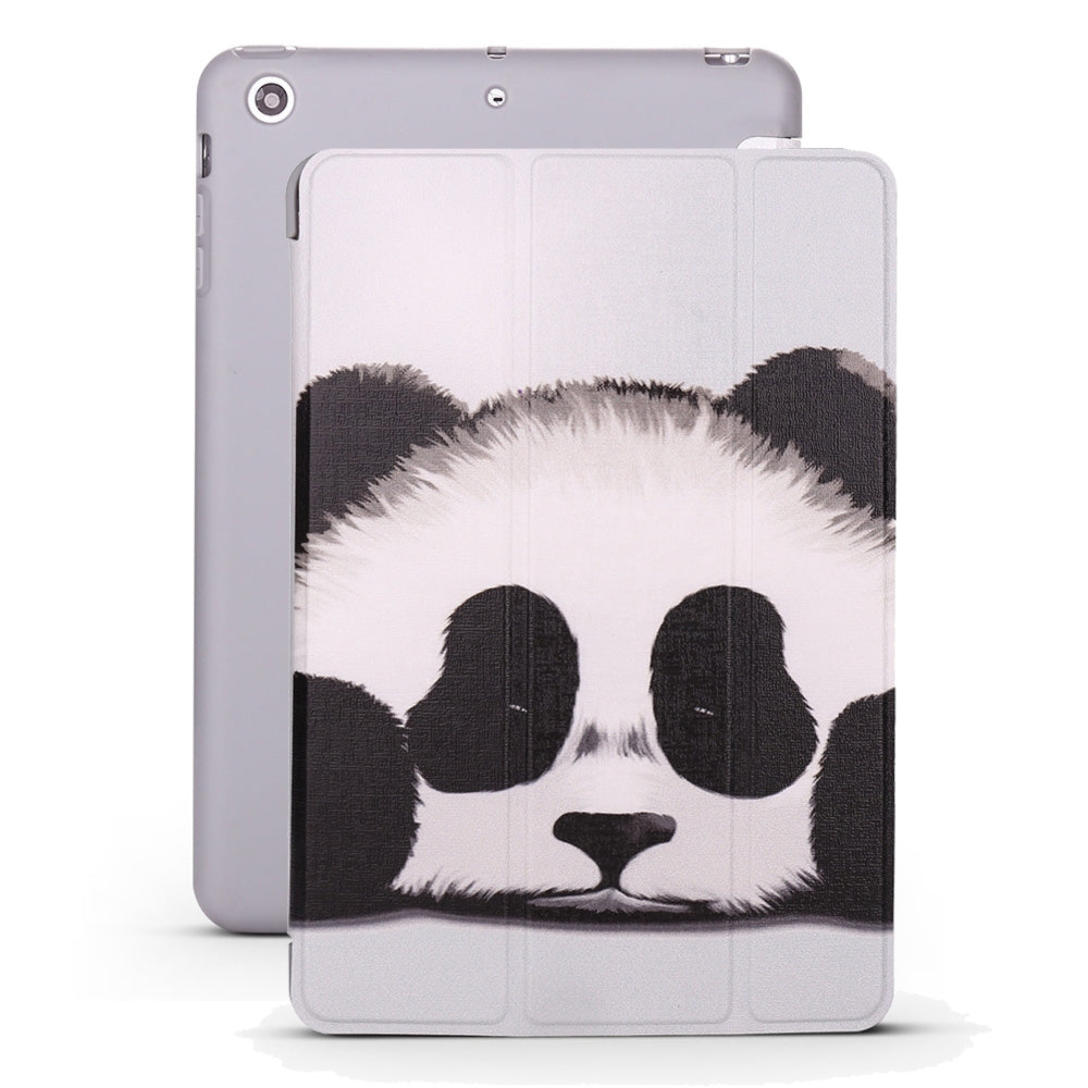 Panda Pattern Horizontal Flip PU Leather Case for iPad mini 3 / 2 / 1, with Three-folding Holder & Honeycomb TPU Cover
