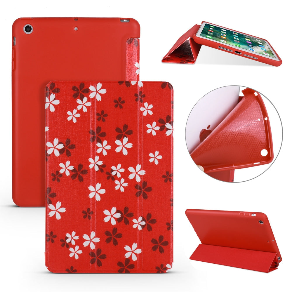 Sakura Pattern Horizontal Flip PU Leather Case for iPad mini 3 / 2 / 1, with Three-folding Holder & Honeycomb TPU Cover