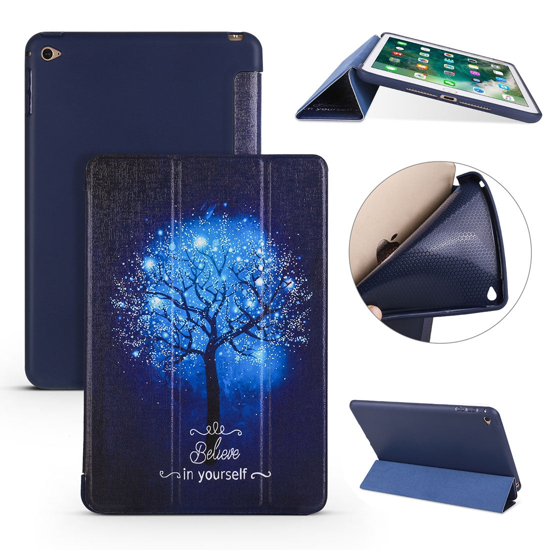 Blue Tree Pattern Horizontal Flip PU Leather Case for iPad mini 4, with Three-folding Holder & Honeycomb TPU Cover
