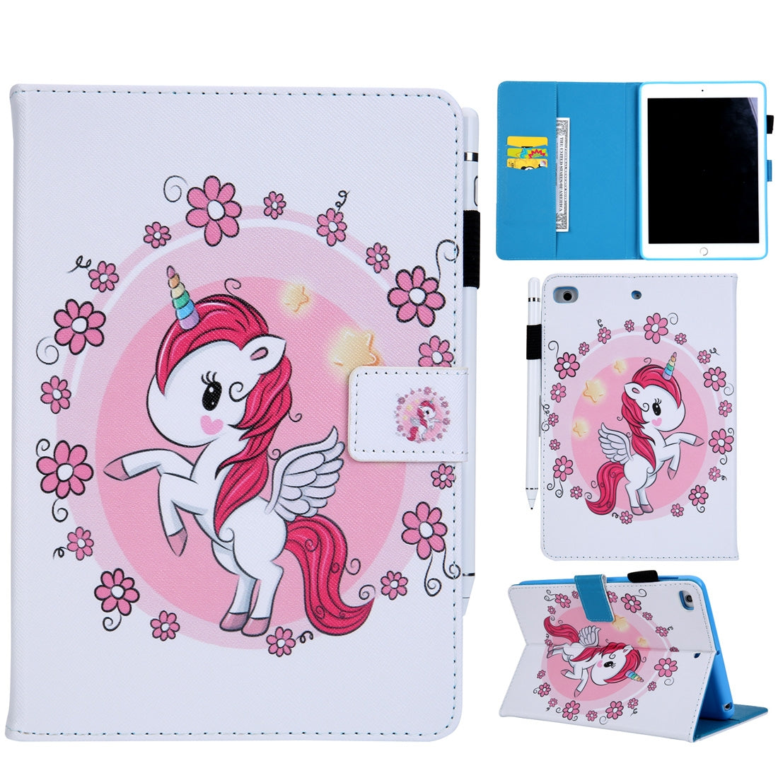 Unicorn Pattern Horizontal Flip Leather Case for iPad mini 4 & 3 & 2 & 1, with Holder & Card Slot & Wallet
