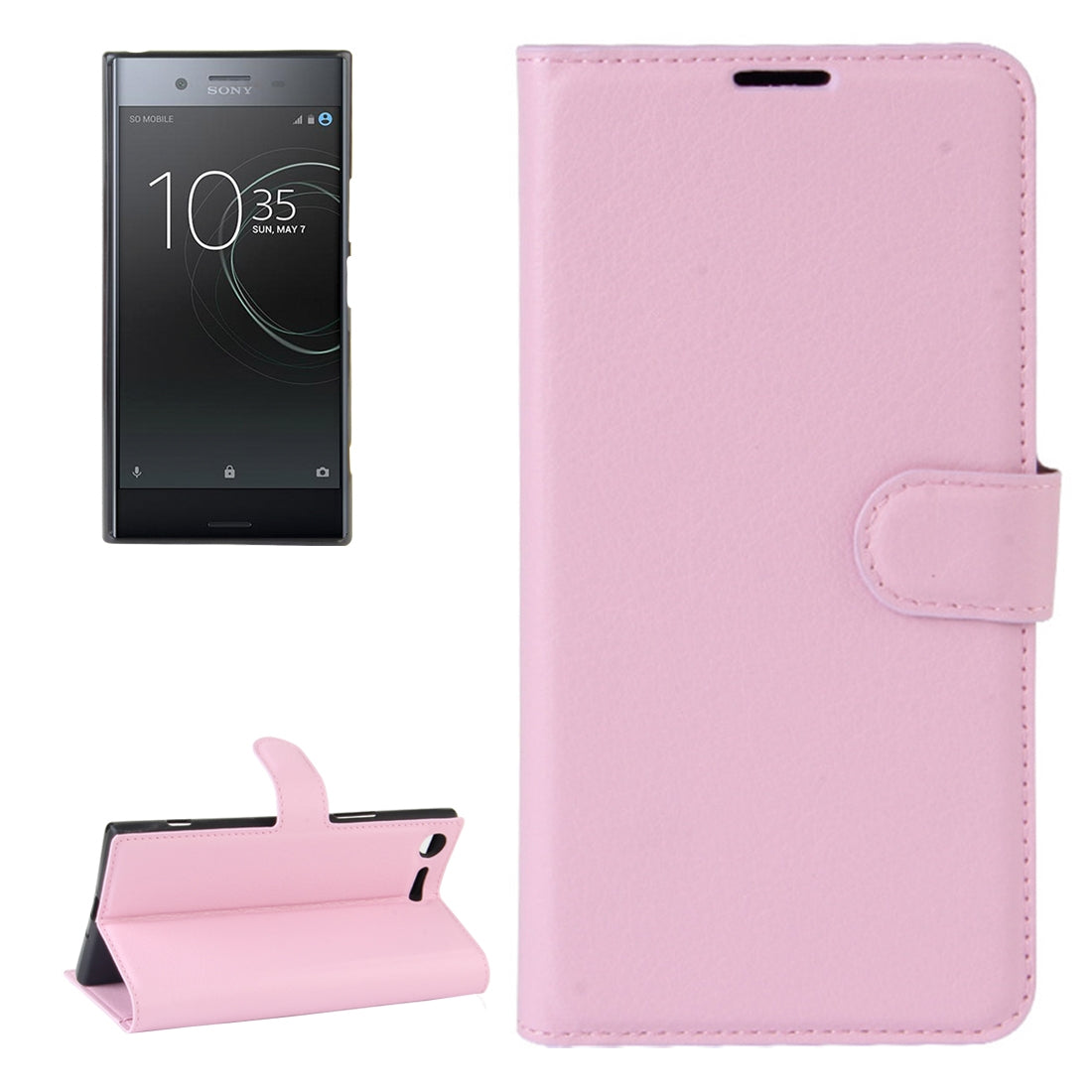 For Sony Xperia XZ Premium Litchi Texture Horizontal Flip Leather Case with Holder & Card Slots & Wallet(Pink)