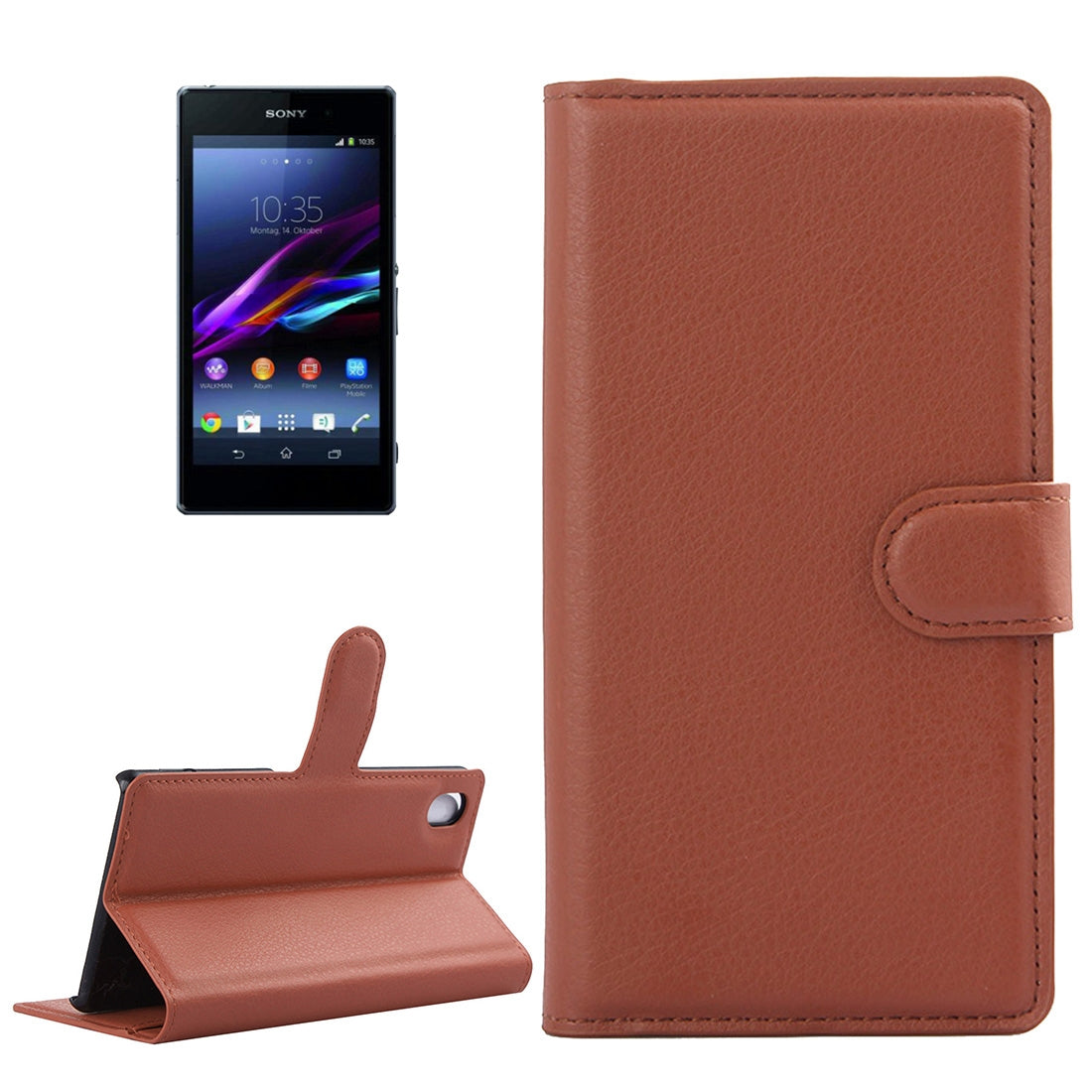 For Sony Xperia Z1 / L39h Litchi Texture Horizontal Flip Leather Case with Holder & Card Slots & Wallet(Brown)