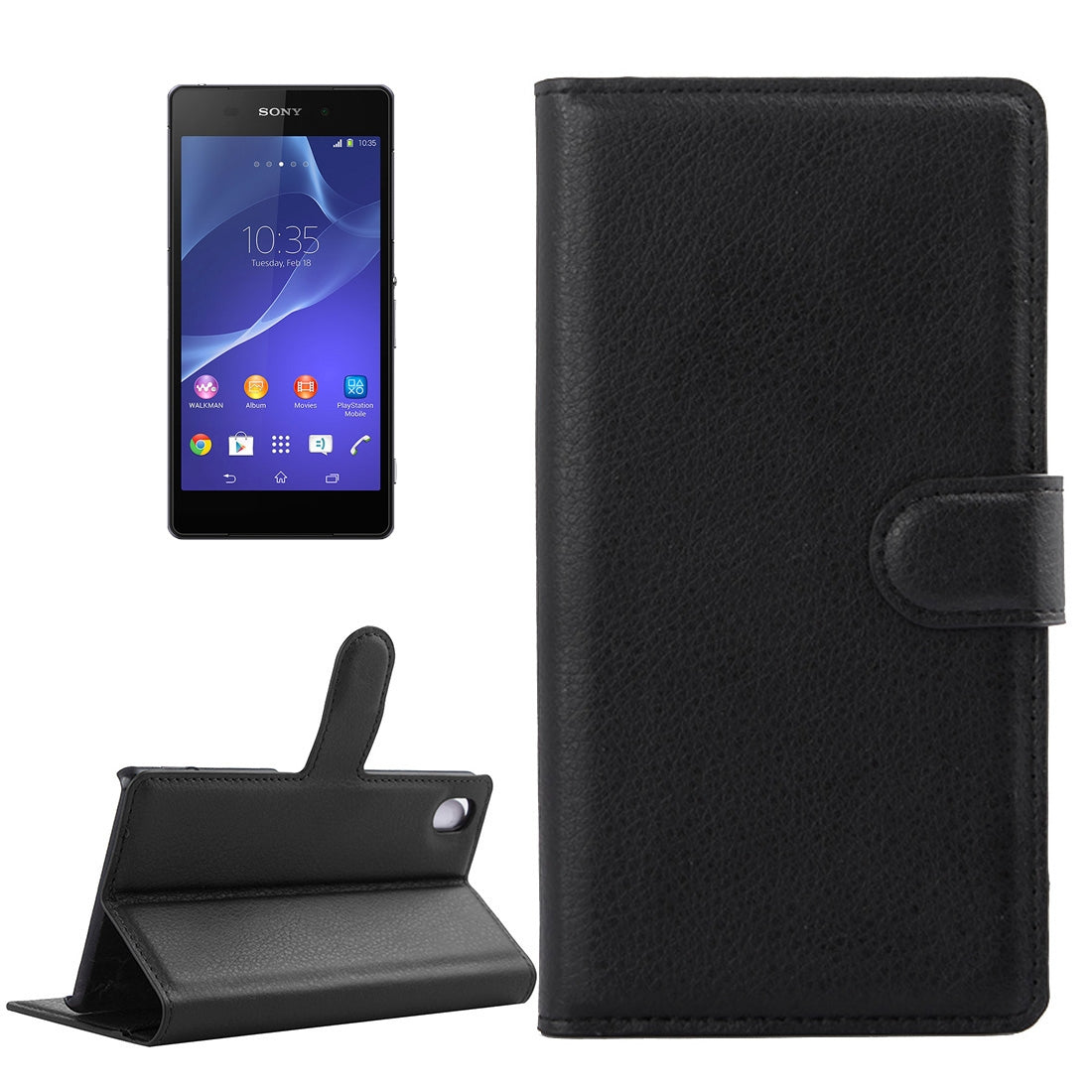 For Sony Xperia Z2 / L50w Litchi Texture Horizontal Flip Leather Case with Holder & Card Slots & Wallet(Black)