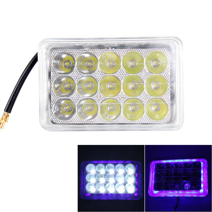 30W 15 LED Rectangle Motorcycle Headlight Lamp with Angle Eye(White Light + Blue Light), DC 8-36V