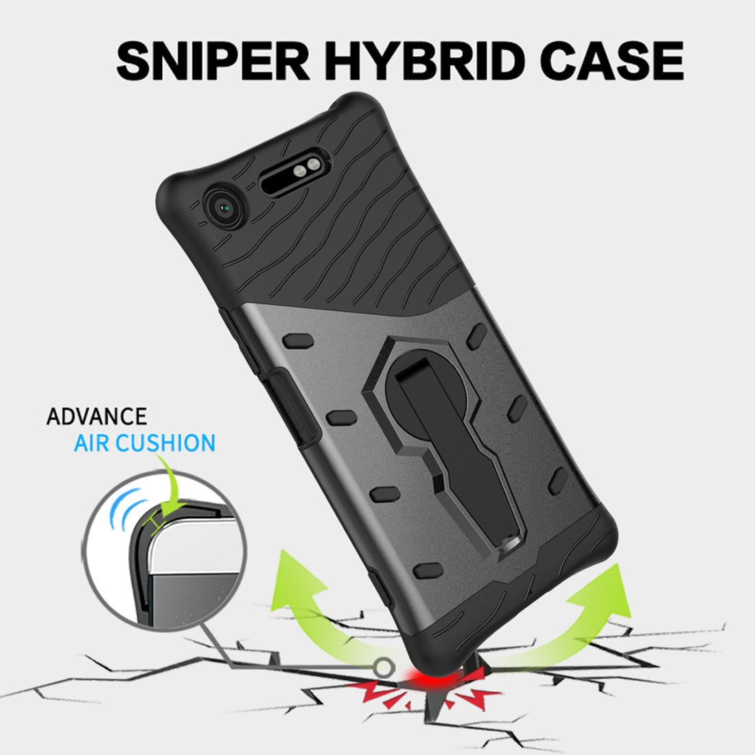 For Sony Xperia XZ1 PC + TPU Dropproof Sniper Hybrid Protective Back Cover Case with 360 Degree Rotation Holder (Silver)
