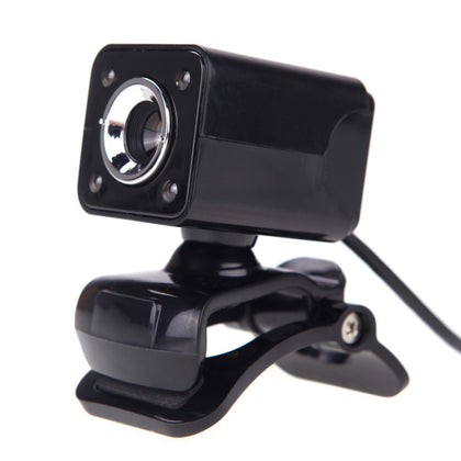 A862 360 Degree Rotatable 12MP HD WebCam USB Wire Camera with Microphone & 4 LED lights for Desktop Skype Computer PC Laptop, Cabl