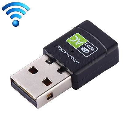 AC600Mbps 2.4GHz & 5GHz Dual Band USB 2.0 WiFi Free Drive Adapter External Network Card