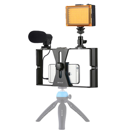 3 in 1 Vlogging Live Broadcast LED Selfie Light Smartphone Video Rig Kits with Microphone + Cold Shoe Tripod Head for iPhone, Gal
