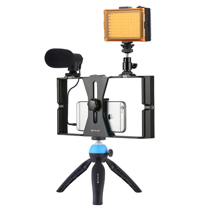 4 in 1 Vlogging Live Broadcast LED Selfie Light Smartphone Video Rig Kits with Microphone + Tripod Mount + Cold Shoe Tripod Head
