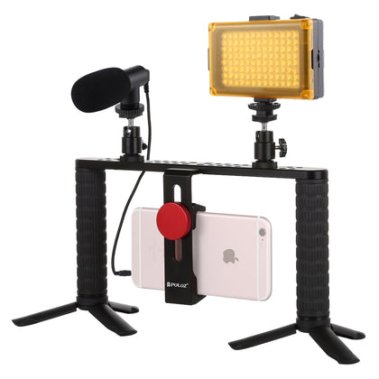 4 in 1 Vlogging Live Broadcast LED Selfie Light Smartphone Video Rig Handle Stabilizer Aluminum Bracket Kits with Microphone + Tr