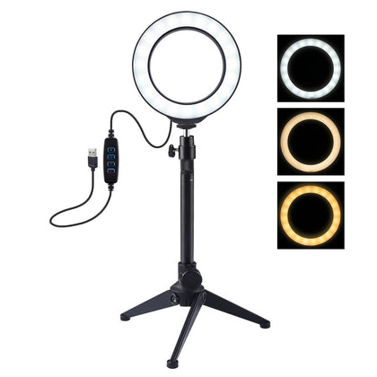 4.7 inch 12cm USB 3 Modes Dimmable LED Ring Vlogging Photography Video Lights + Desktop Tripod Holder with Cold Shoe Tripod Ball