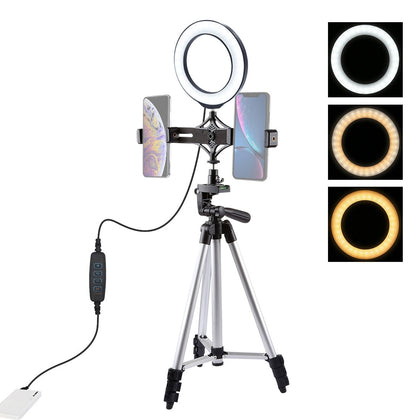 Tripod Mount +  Live Broadcast Dual Phone Bracket + 6.2 inch 16cm LED Ring Vlogging Video Light Kits