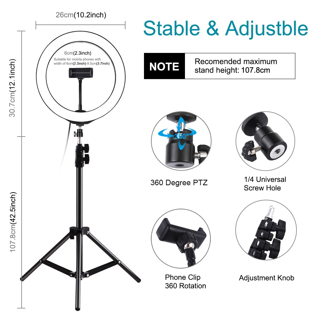 1.1m Tripod Mount + 10 inch 26cm LED Ring Vlogging Video Light  Live Broadcast Kits