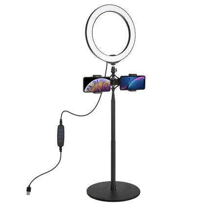 140cm Round Base Desktop Mount + Live Broadcast Dual Phone Bracket + 10.2 inch 26cm LED Ring Vlogging Video Light Kits with Cold