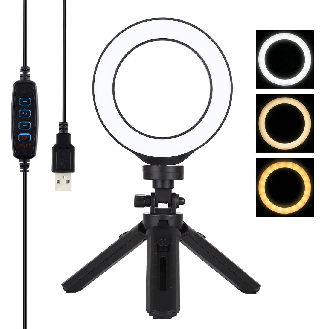 4.7 inch 12cm USB 3 Modes Dimmable LED Ring Vlogging Photography Video Lights + Pocket Tripod Mount Kit with Cold Shoe Tripod Bal