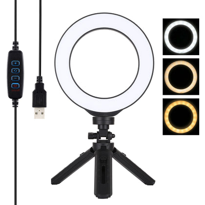 6.2 inch 16cm USB 3 Modes Dimmable LED Ring Vlogging Photography Video Lights + Pocket Tripod Mount Kit with Cold Shoe Tripod Bal