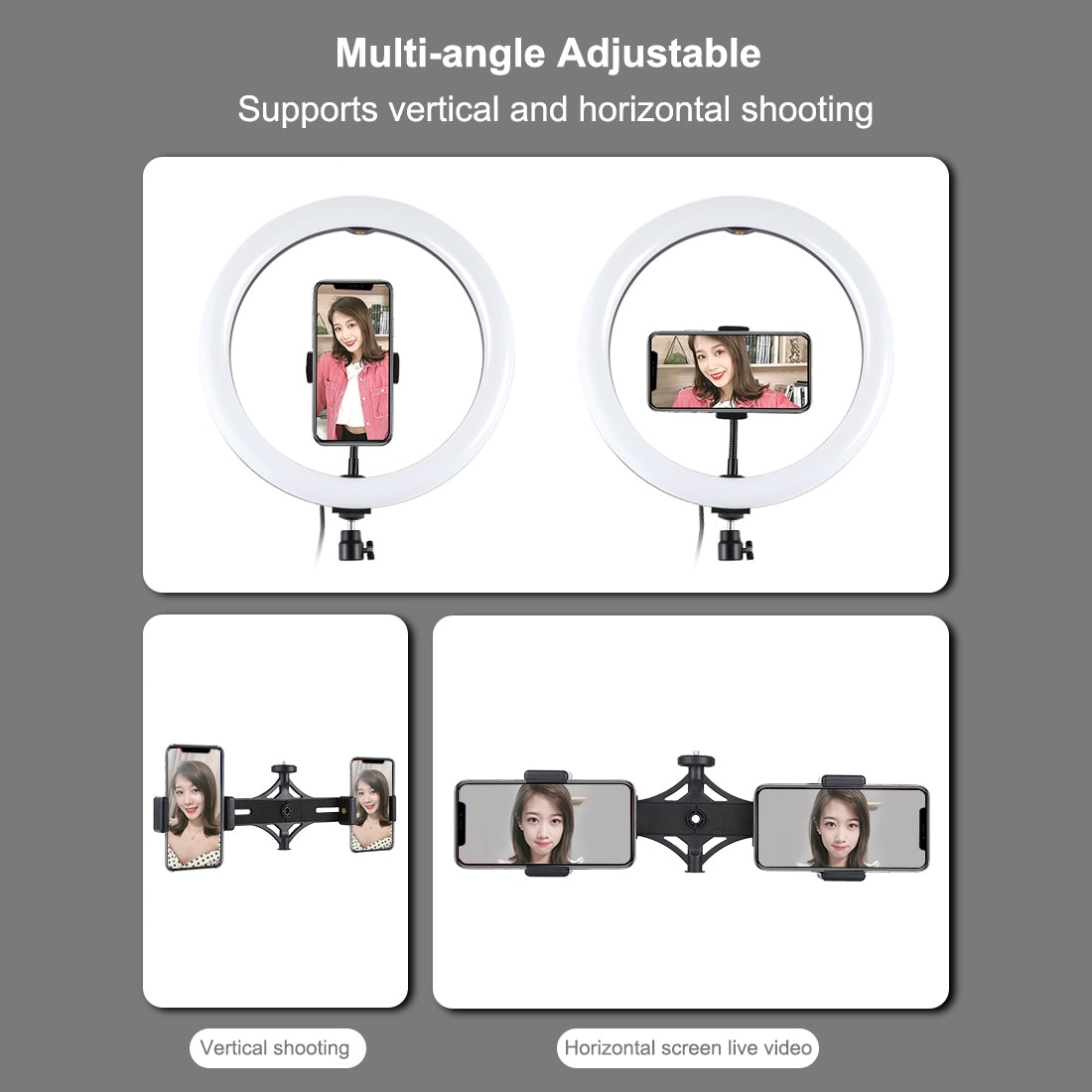 1.65m Tripod Mount + Dual Phone Bracket + 11.8 inch 30cm Curved Surface USB 3 Modes Dimmable Dual Color Temperature LED Ring Vlog