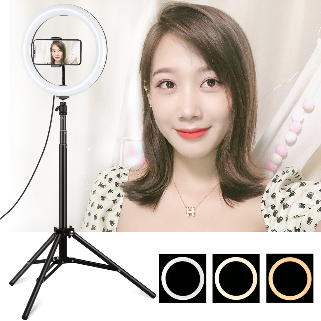 1.65m Tripod Mount + 10.2 inch 26cm Curved Surface USB 3 Modes Dimmable Dual Color Temperature Ring Vlogging Video Light Live Bro