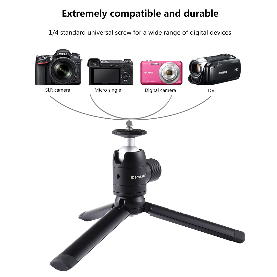 Mini Pocket Metal Desktop Tripod Mount + Mini  Metal Ball Head with 1/4 inch Screw for DSLR & Digital Cameras