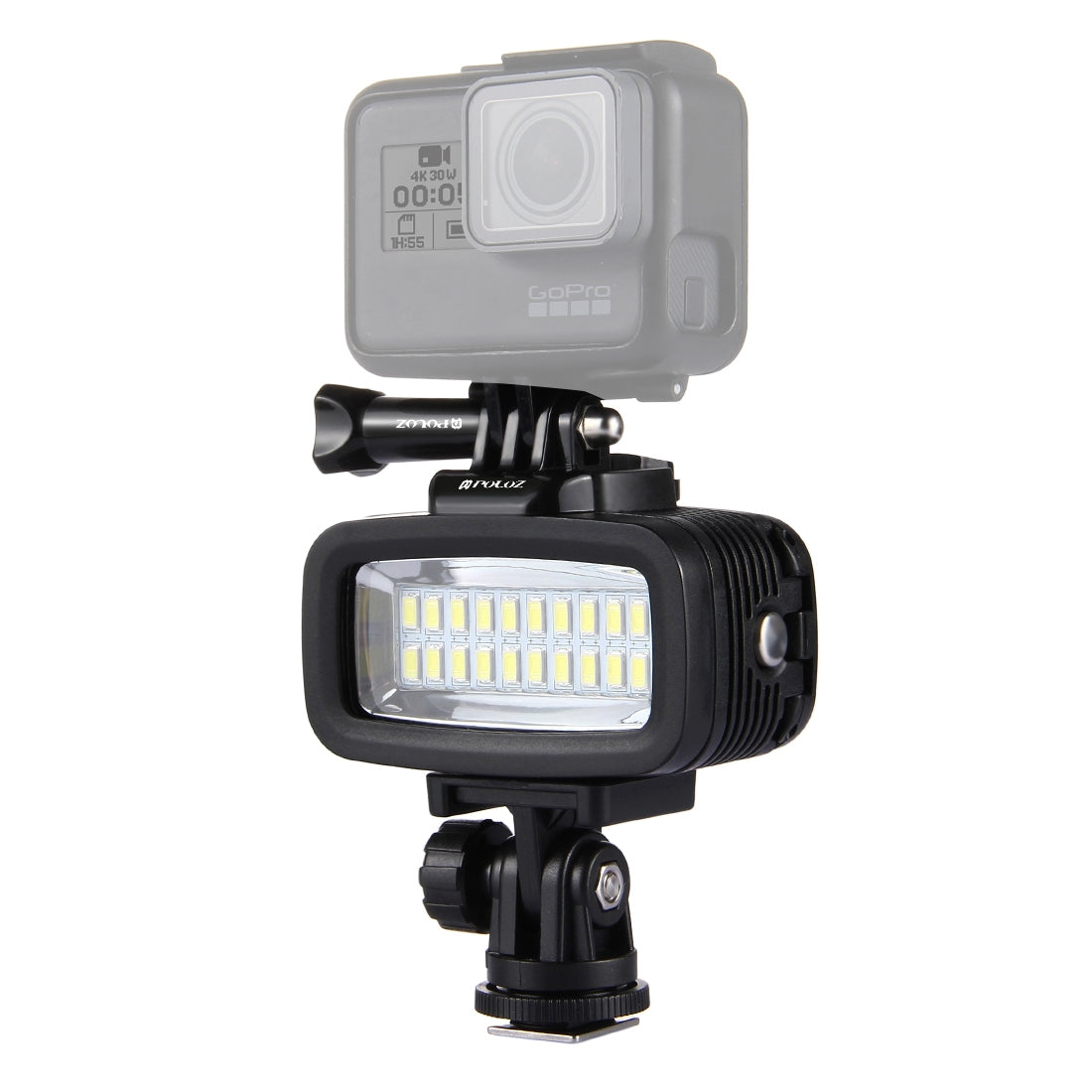 20 LEDs 40m Waterproof IPX8 Studio Light Video & Photo Light with Hot Shoe Base Adapter & Quick Release Buckle & Long Screw & 2 x