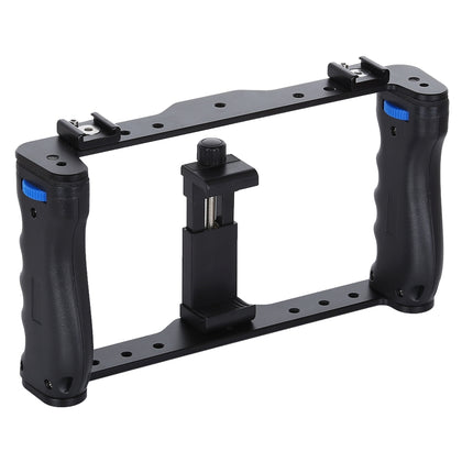 Vlogging Live Broadcast Smartphone Cage Video Rig Filmmaking Recording Handle Stabilizer Bracket for iPhone, Galaxy, Huawei, Xiao
