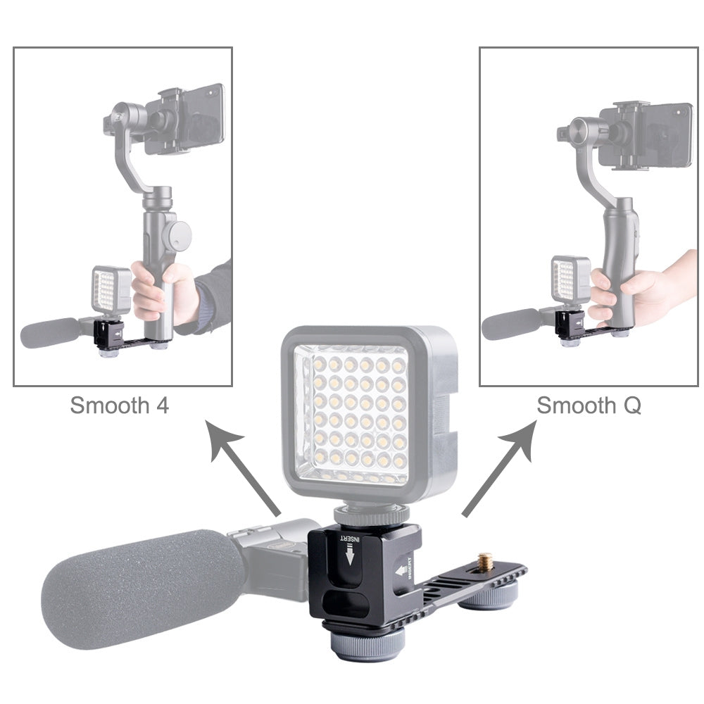 4-Head Cold Hot Shoe Mount Adapter Microphone Flash Light Aluminum Alloy Extension Bracket for DJI OSMO Mobile 2 / Zhiyun Smooth