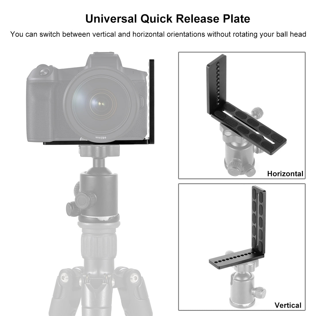 1/4 inch Vertical Shoot Quick Release L Plate Bracket Base Holder for MOZA / DJI / Zhiyun / Nebula  3-Axis Stabilizer (Black)